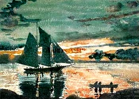 Winslow Homer.  Sailing out of harbour.